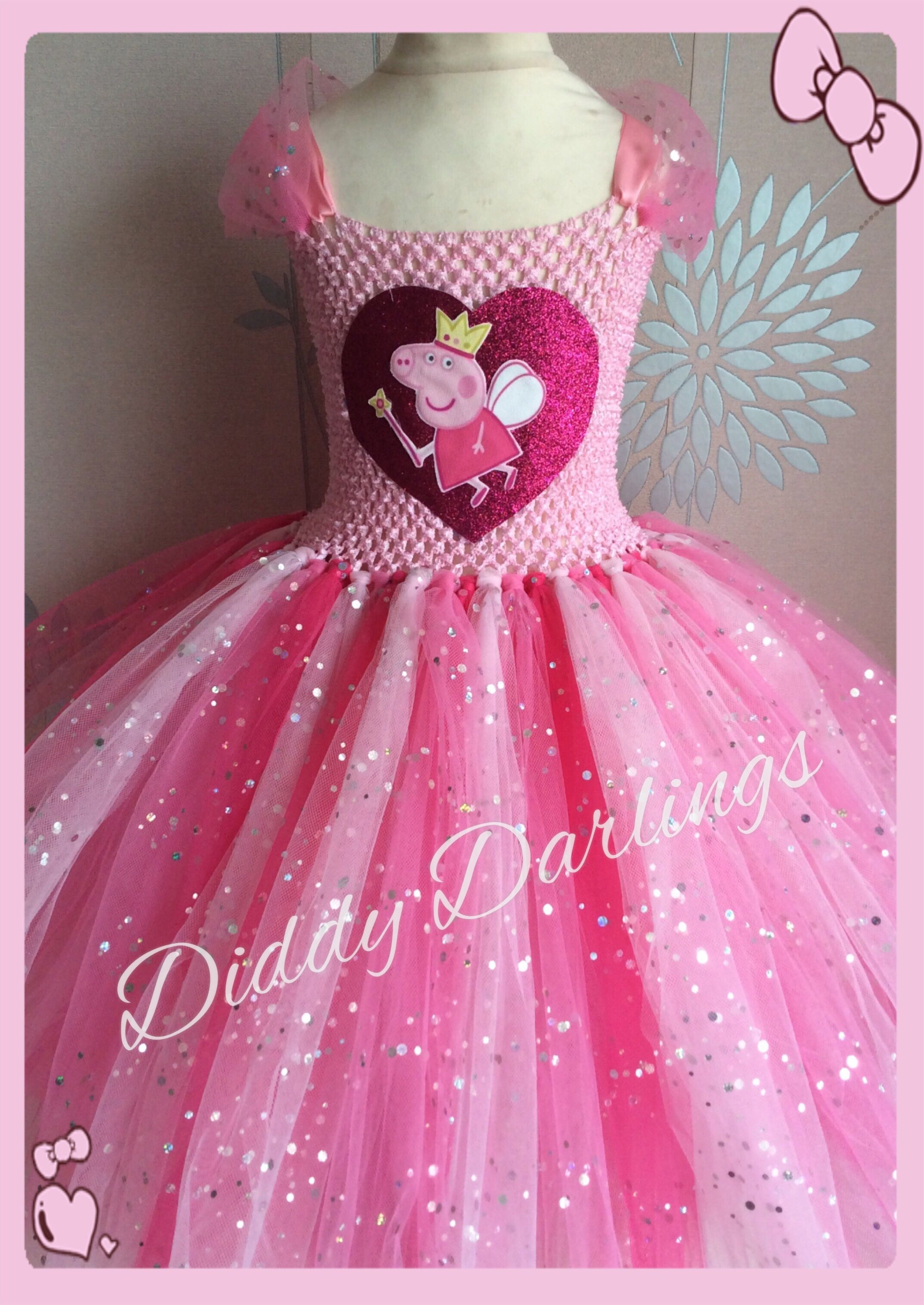 534a35d92f1e Peppa Pig Tutu Dress. Sparkly Peppa Pig Dress. Beautiful & lovingly  handmade.