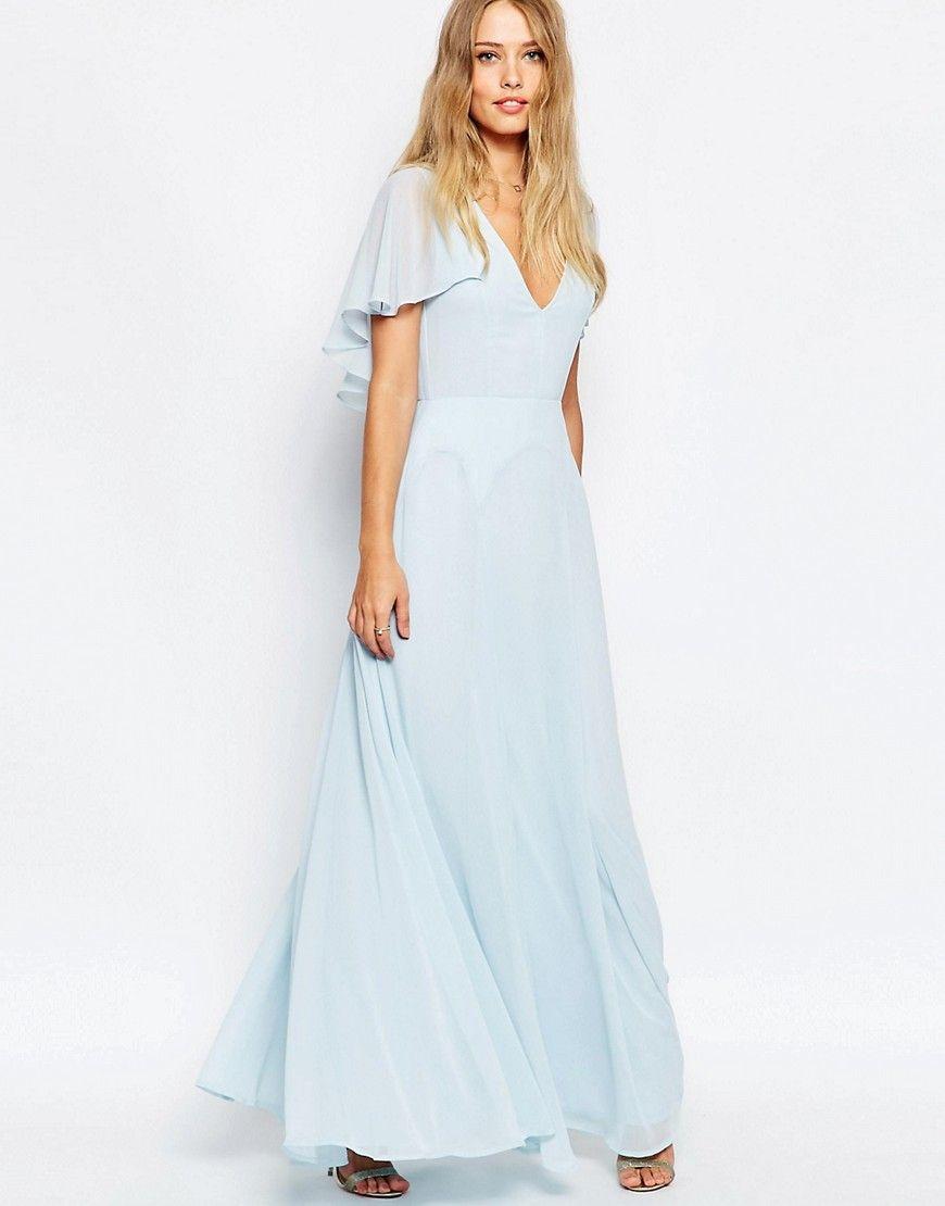 Asos flutter sleeve cape back maxi dress bridesmaid