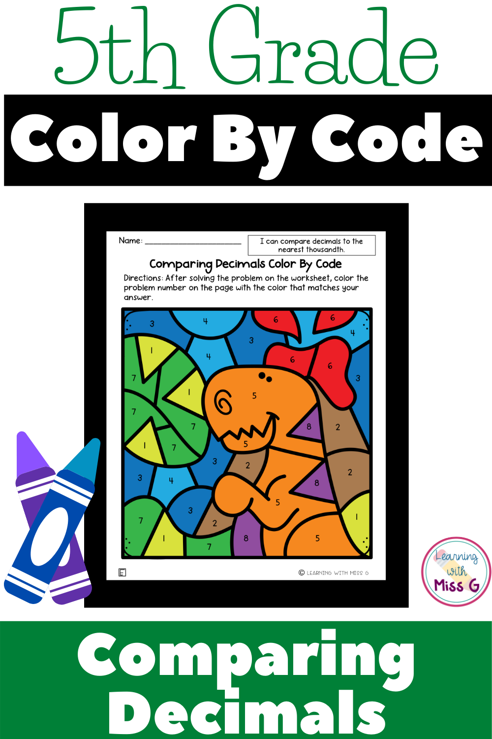 small resolution of 5th Grade Color By Code Worksheets for Comparing Decimals in 2021    Comparing decimals