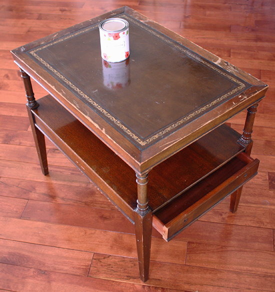 Leather Top Table Makeover Before Home Decor Pinterest