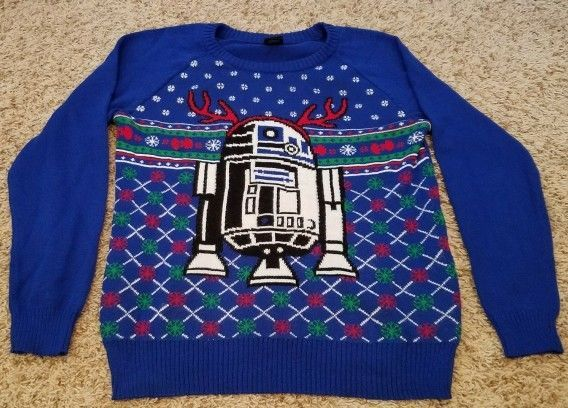 EUC Star Wars R2-D2 Reindeer Ugly Christmas Xmas Sweater Royal Blue