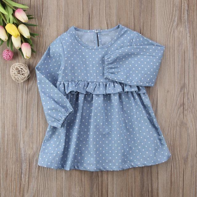 Girls Babies Dress Chambray Spot Designer Kids Dresses Long Sleeve Cotton 0-2 yr