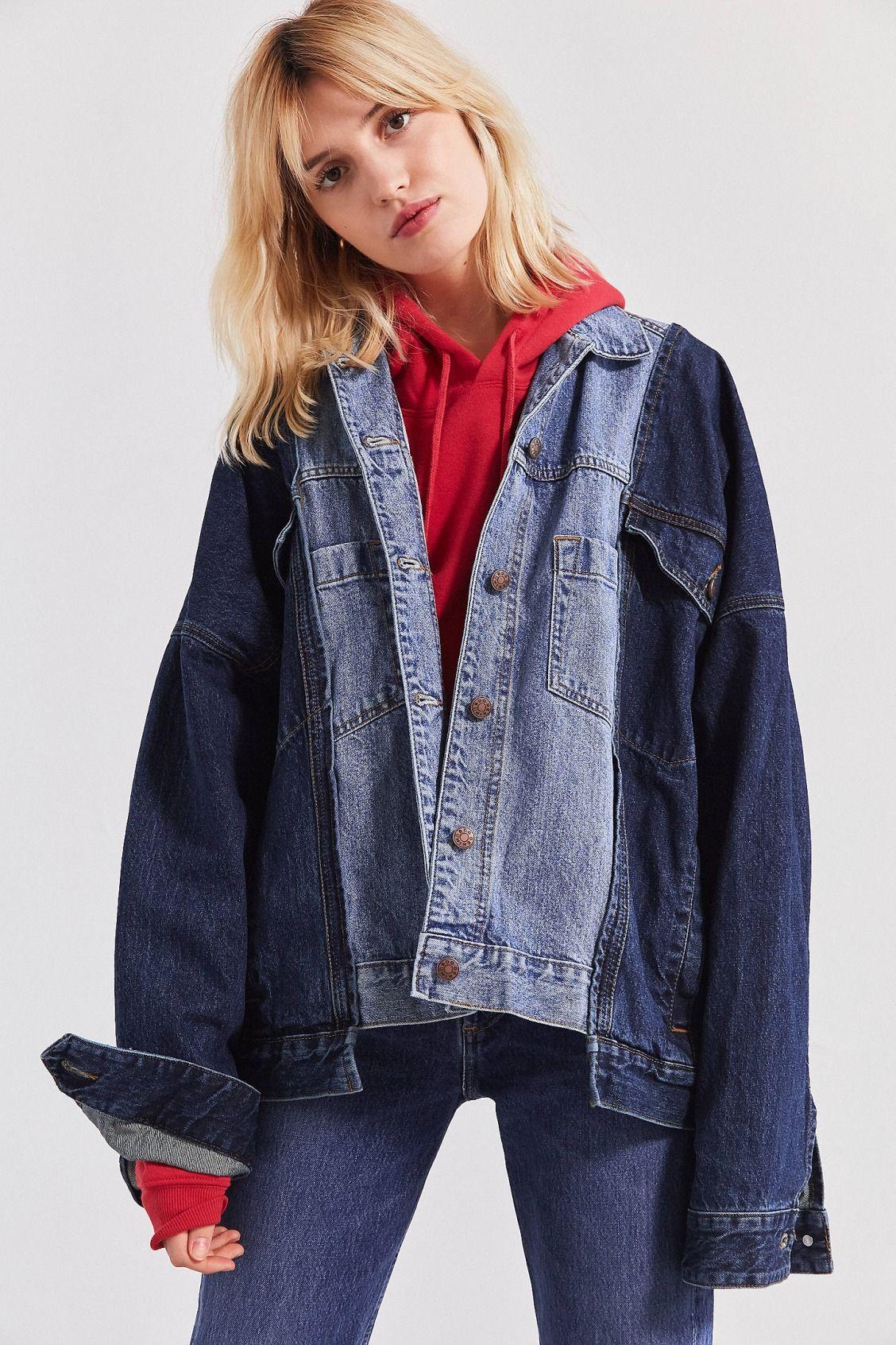 Bdg Half And Half Denim Trucker Jacket Oversized Denim Jacket Denim Jacket Jean Jacket Outfits [ 1692 x 1128 Pixel ]