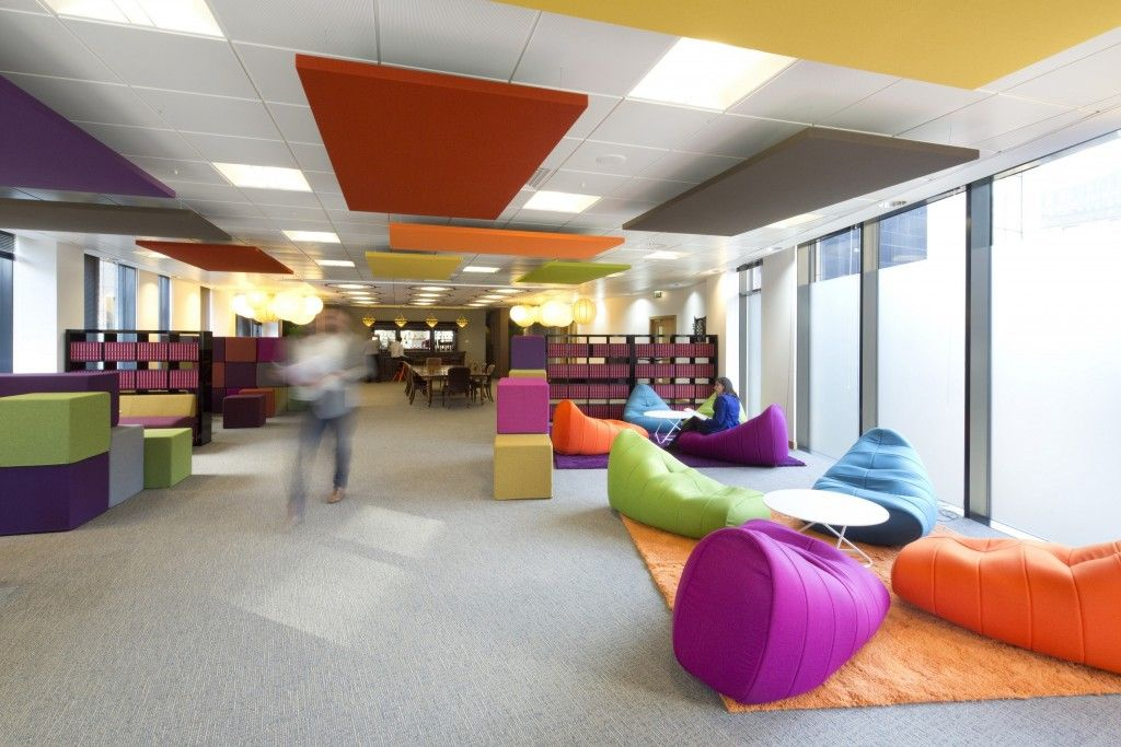 Fin Edinburgh AWE Space Coloured Cushions Breakout Area