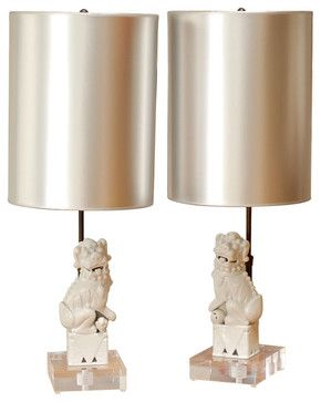 Vintage Foo Dog Lamps Asian Table Lamps