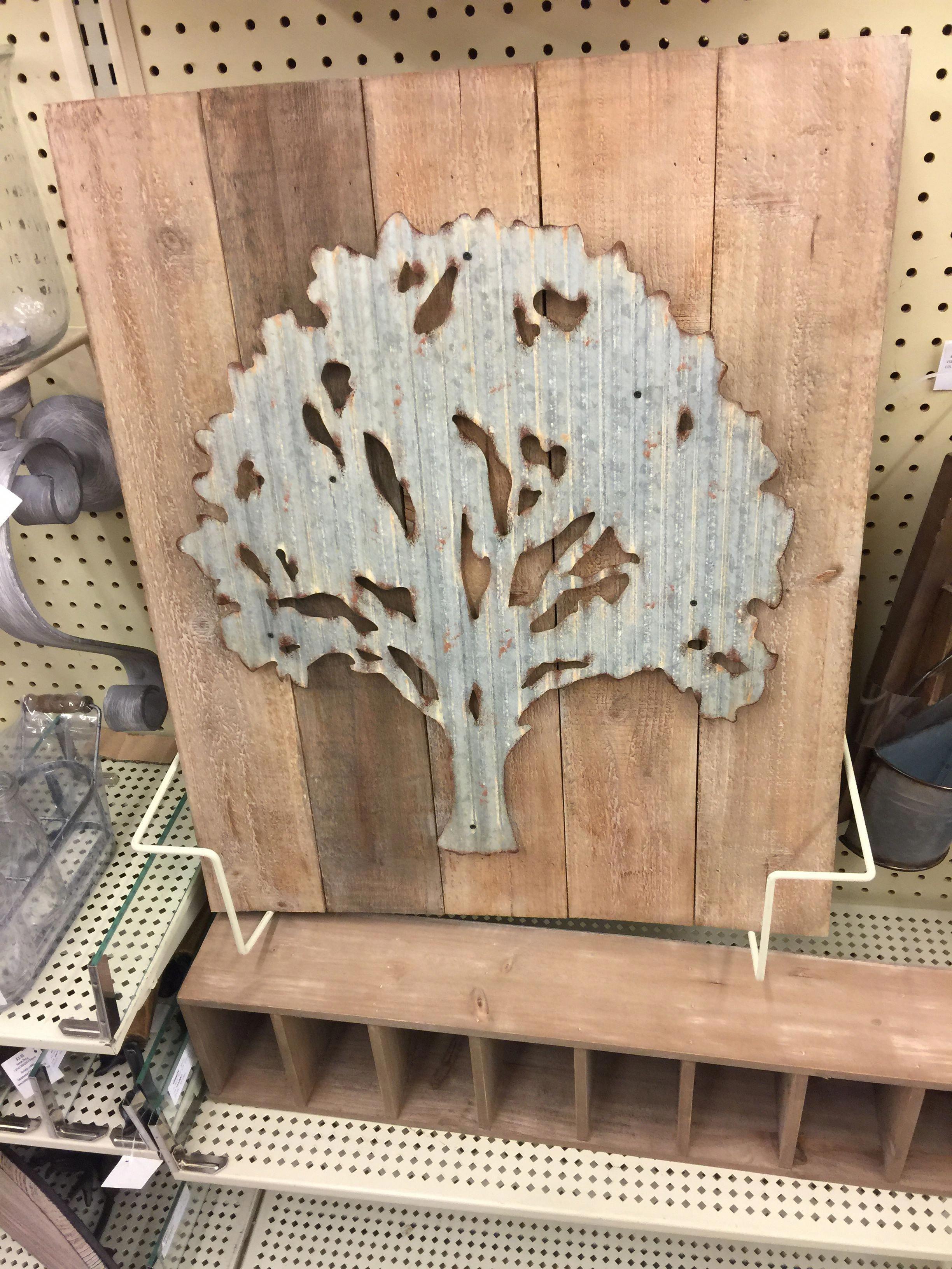 af7bef45fae  44.99 SKU 1282383 Metal tree on wood pallet wall decor  metaltree ...