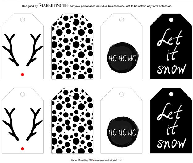 graphic regarding Printable Christmas Tags Black and White named Impressive Stylish Trip Present Tag Printable :: Cost-free vacations