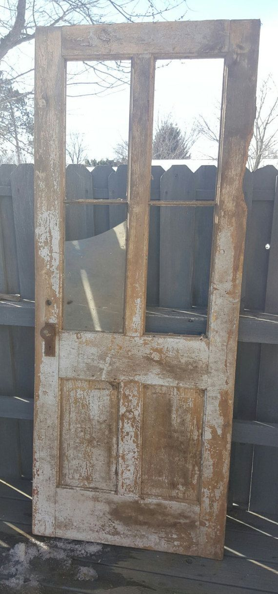 Wood Door Architectural Salvaged From Hometown Grocery Store Wisconsin History Wavy Glass Grocery Door Histor Old Wood Doors Glass Doors Interior Wood Doors