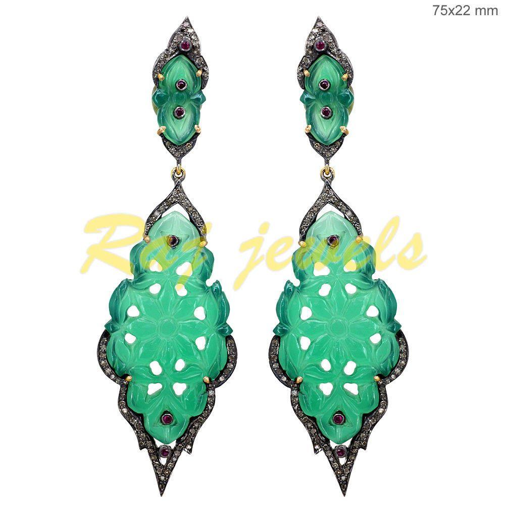 14k Gold Carved Onyx Dangle Earrings Ruby Pave Diamond Sterling Silver Jewelry #raj_jewels