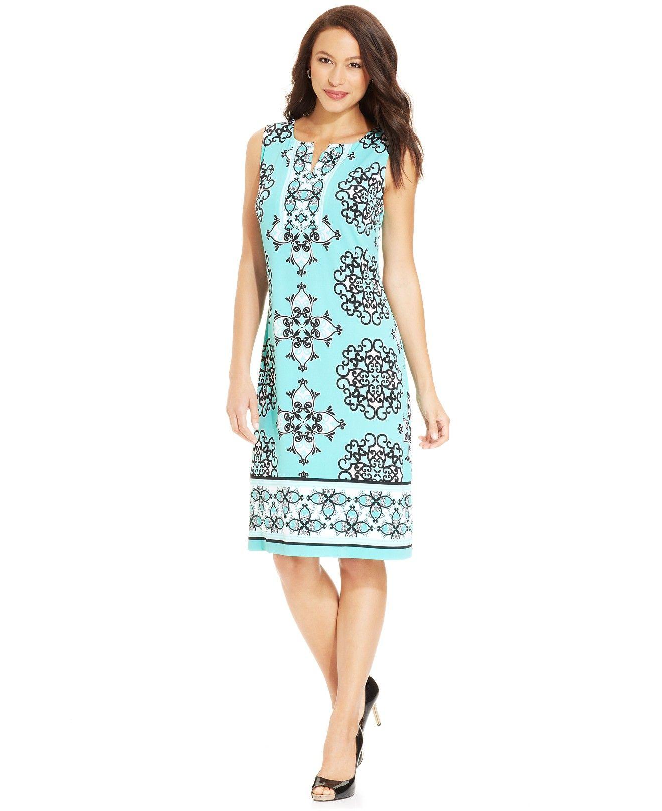 JM Collection Printed Split-Neck Dress - Dresses - Women - Macy\'s ...