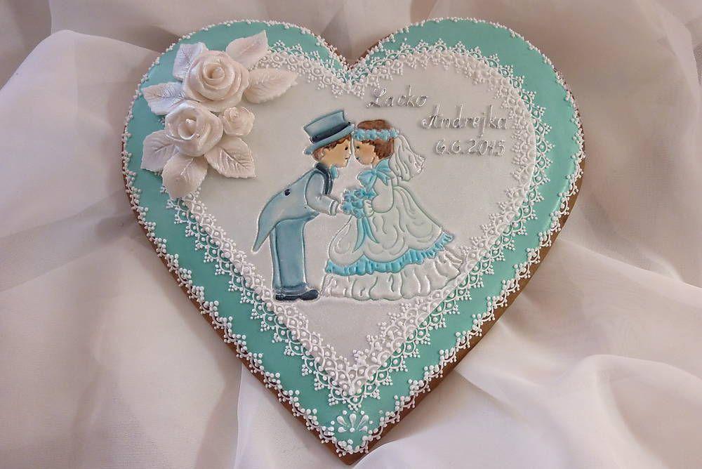 Dekorácie - Medovníkove srdce pre mladomanželov - 5584665_