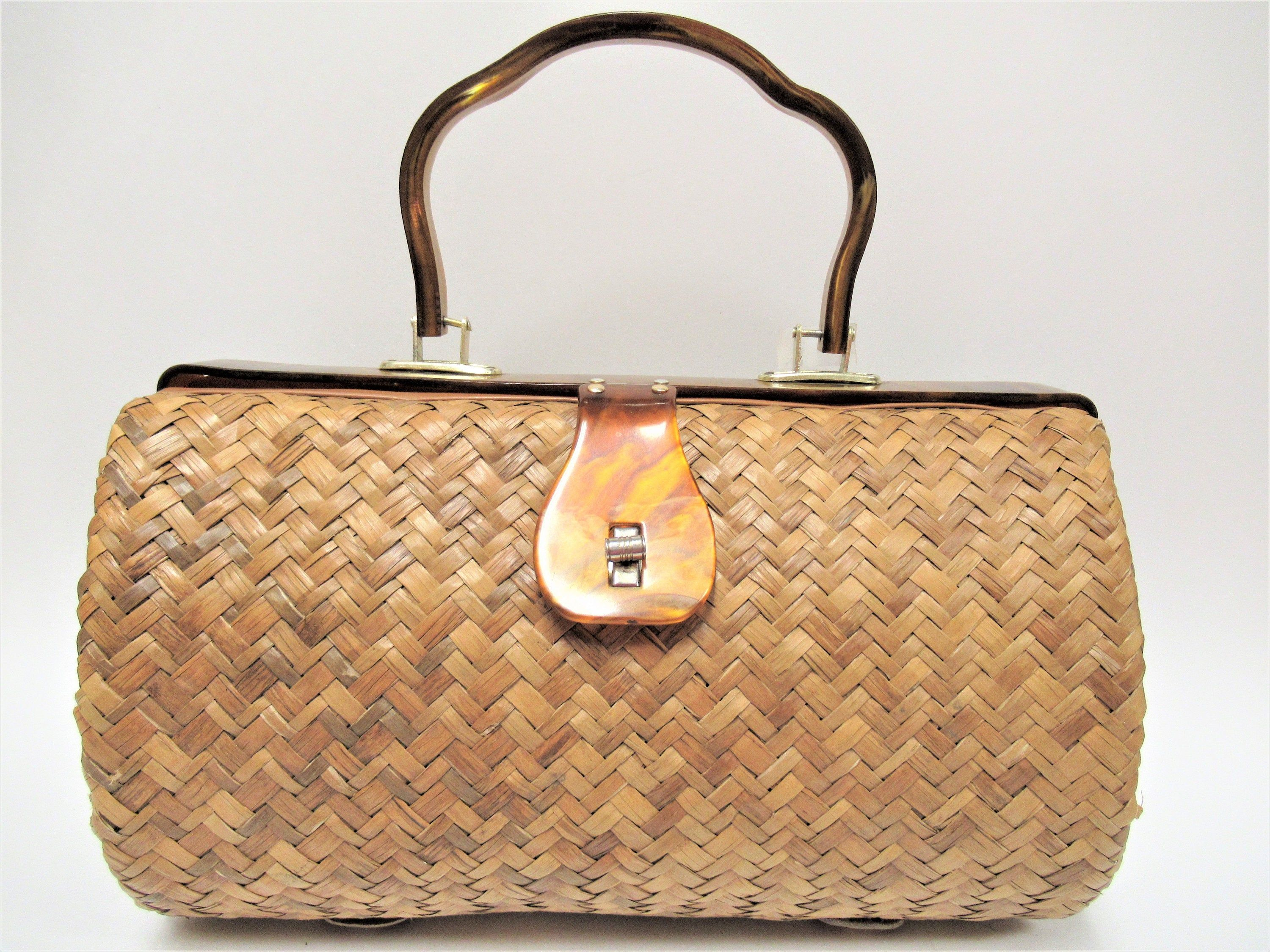 Vintage Mister Ernest Natural Straw Handbag 1960s 70s Mr Ernest Simon Hong Kong Summer Bag Woven Rafia Purse W Straw Handbags Raffia Bag Vintage Handbags