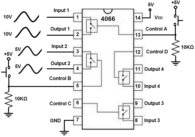 4066 quad bilateral switch circuit