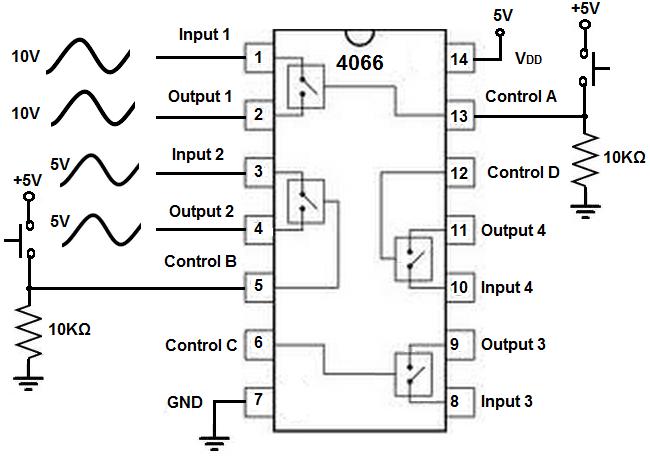 4066 quad bilateral switch circuit