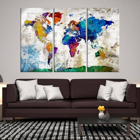 Large wall art push pin world map push pin world map wall