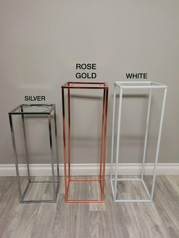 Chrome Modern Rectangle Stand Metal Geometric Vase/Metal Frame/Tall Stand/ Four Rod Stand/ Metal Vase/ Metal Vase/ Metal Riser/ Collapsible