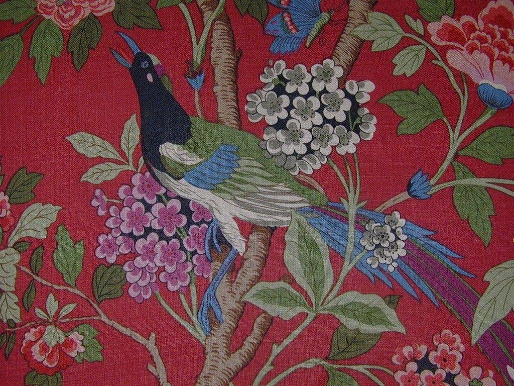 GP & J Baker Hydrangea Red Bird Linen Curtain & Light Upholstery Fabric - The Millshop Online