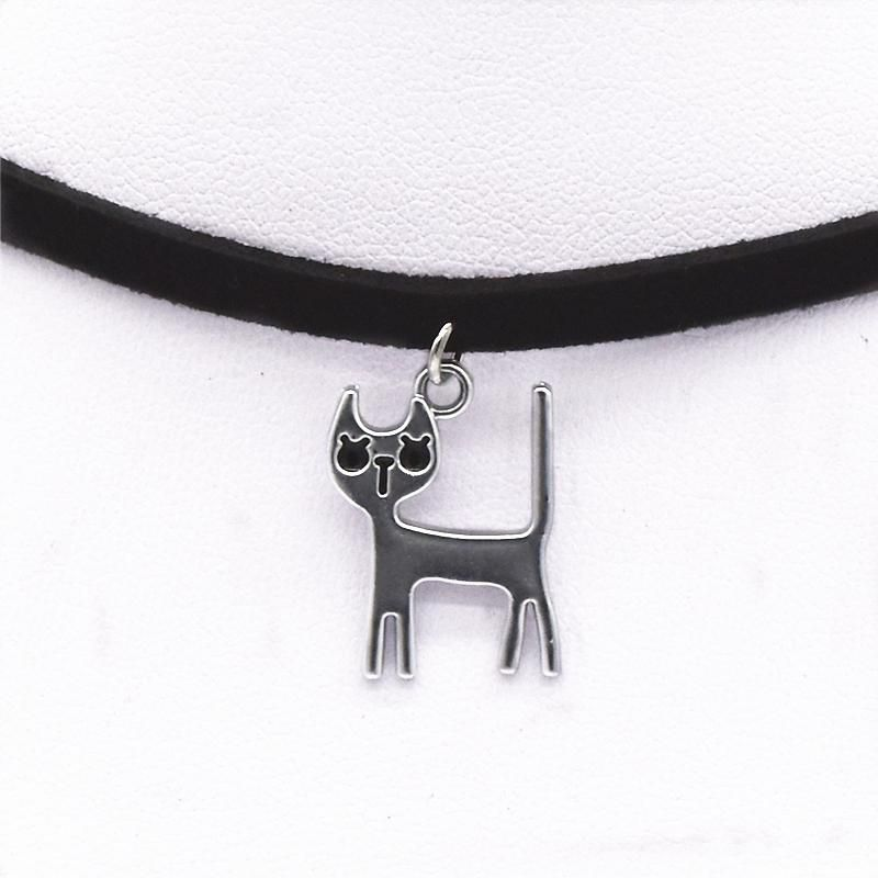 Velvet Leather Torques Collar Black Choker Cat Pendant Necklace
