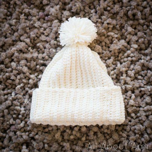Easy Ribbed Pom Pom Beanie | Gorros, Gorros de lana y Crochet para bebes