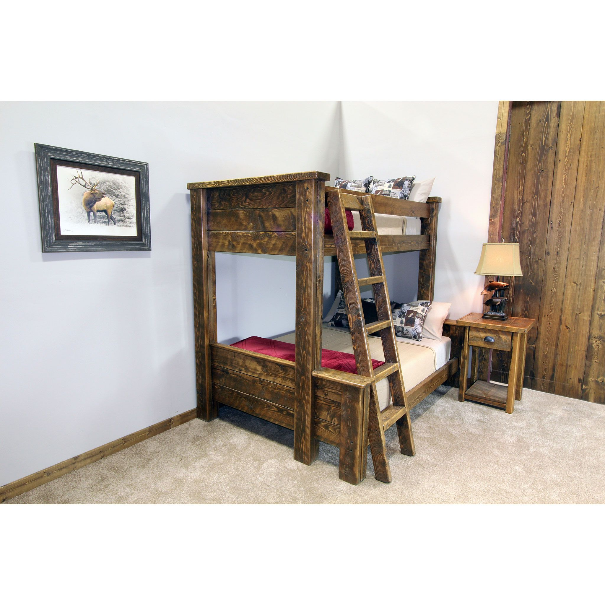 Rustic Lodge Barnwood Bunk Bed Made With All Circle Sawn Fir Bunk