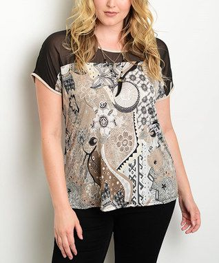 Black & Brown Abstract Sheer-Yoke Top - Plus