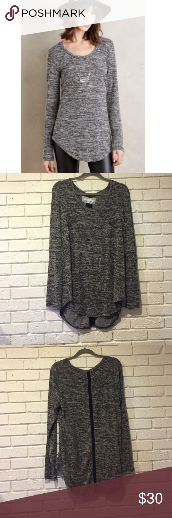 Anthropologie pure + good subbed baseball tee Worn once. Washed accordingly and laid flat to dry. Size XL. Black ribbon down back. Anthropologie Tops Tees - Long Sleeve