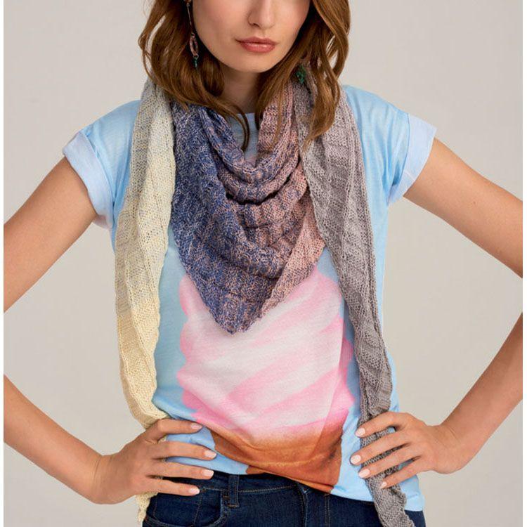 Shawl And Cushion In Rico Design Creative Cotton Degrade Super 6 897 Cotton Summer Yarn Fashion