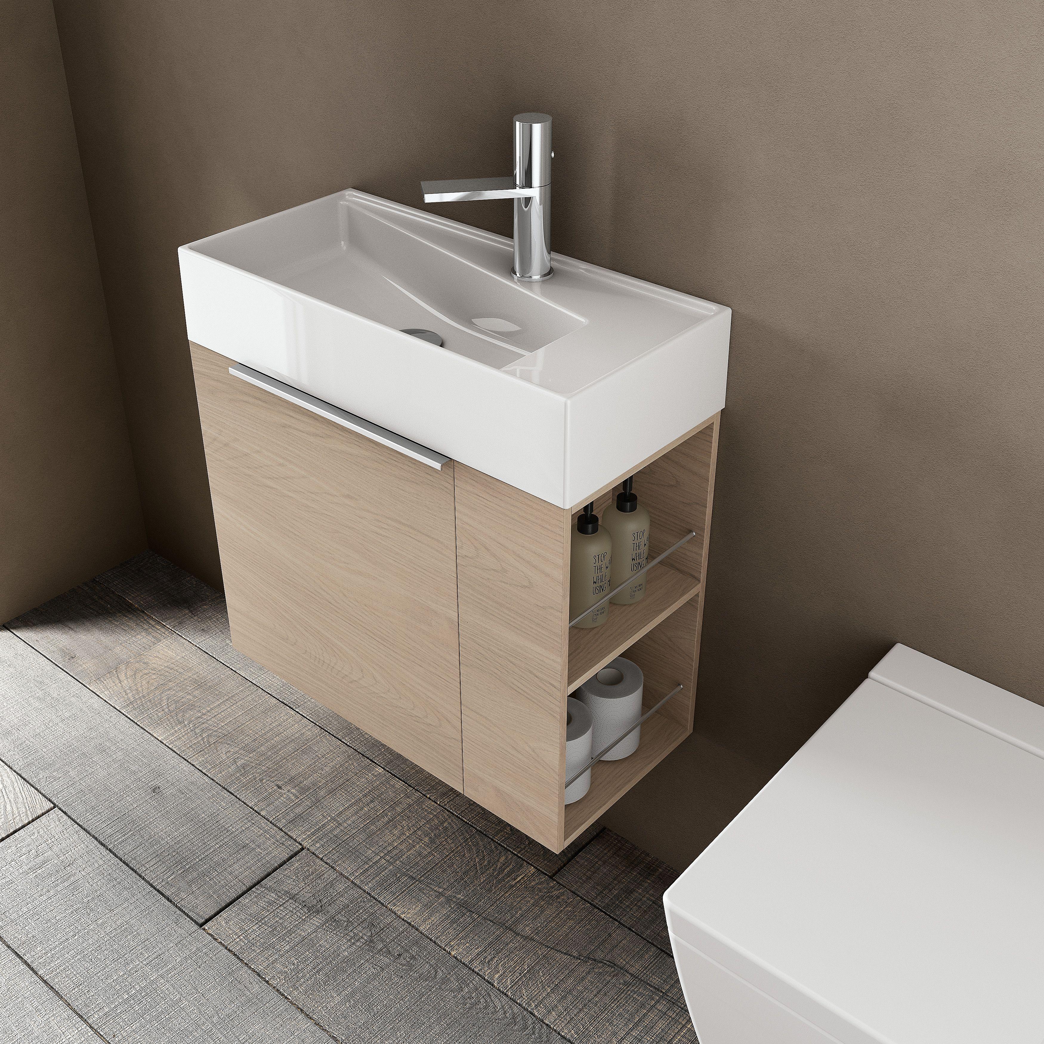 meuble de salle de bain et lavabo faible profondeur avec rangement ferm et tag res ouvertes. Black Bedroom Furniture Sets. Home Design Ideas
