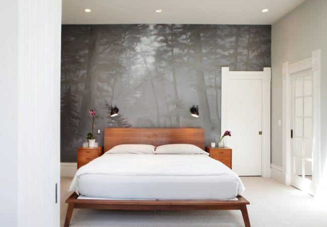 Fototapete wald schlafzimmer grau holzbett schlafzimmer - Grau im schlafzimmer ...