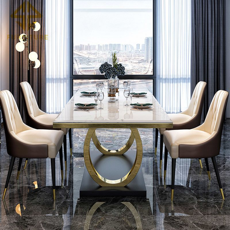 Morden Luxury Design Marble Top Dining 4 Chairs Table Set Dining Room Furniture Table and Chairs for Dining Room