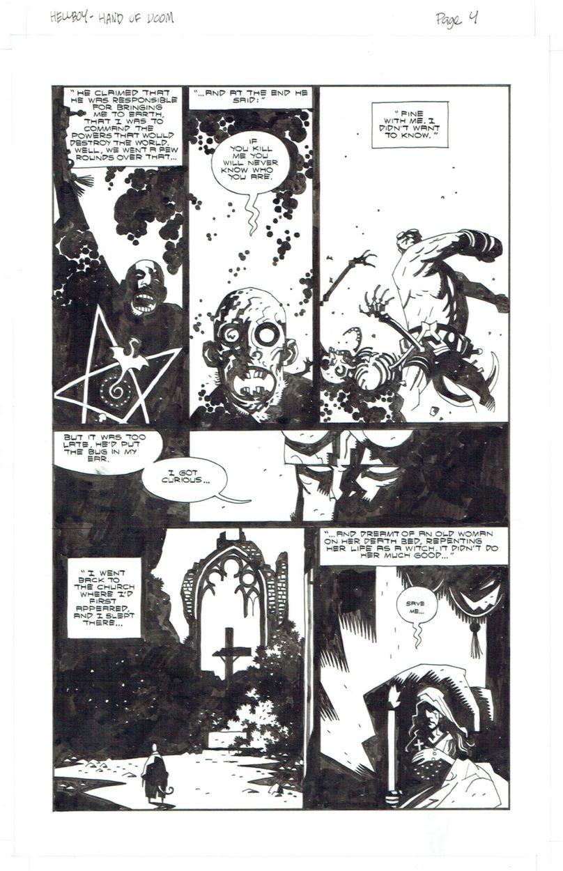 Hellboy Right hand of Doom origin by Mignola (and some Kirby energy) Comic Art