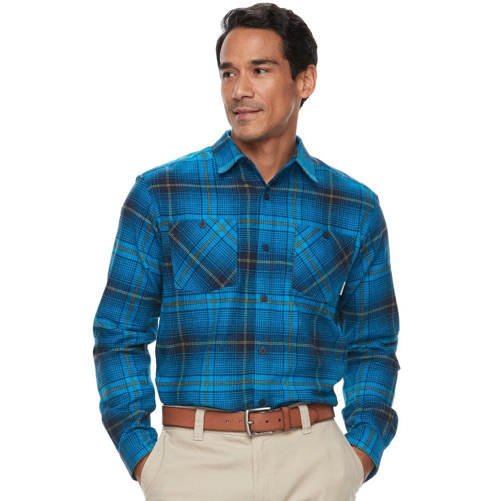Dark blue flannel men  Big u Tall Columbia Highland Home ClassicFit Plaid Flannel Button