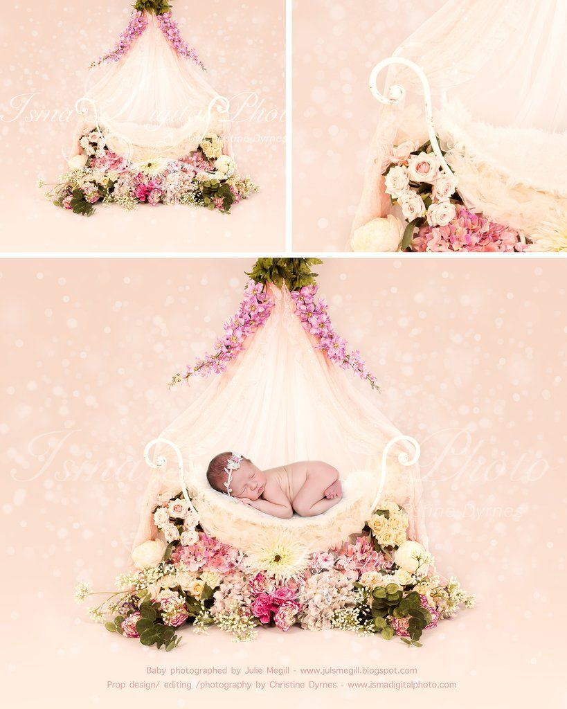 Iron Bed Chair With Flowers And Veils Beautiful Digital Background Newborn Photography Prop
