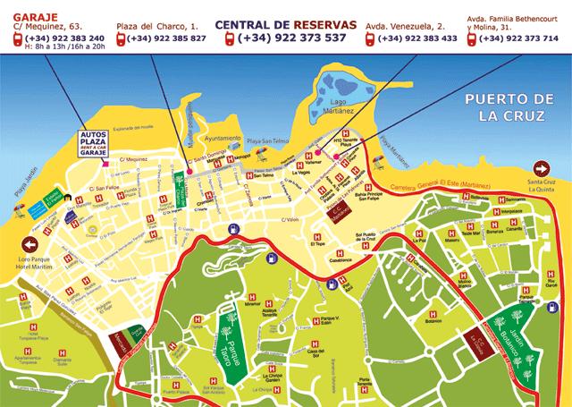 Mapa De Las Oficinas De Alquiler En Puerto De La Cruz Http Www Teneriffaautovermietung Com Autovermietung Mietstationen Html Tenerife Canary Island Map