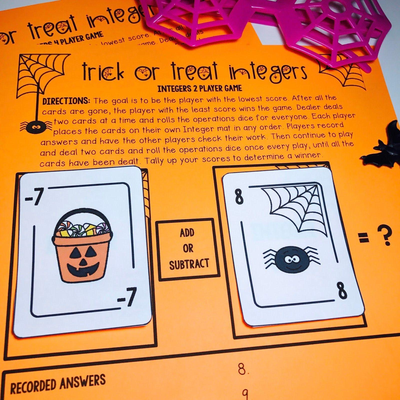 Halloween Middle School Math Activities Amp Games