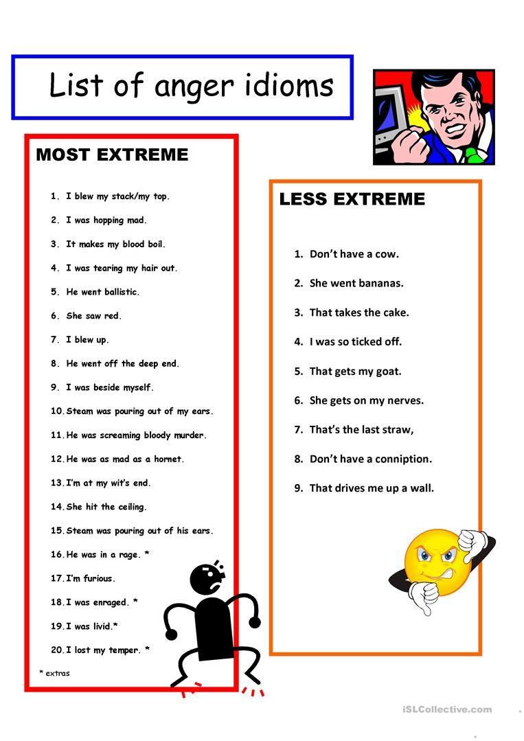 5 Page Anger Idioms Vocabulary Key Worksheet Free Esl Printable Worksheets Made By Teachers Idioms Idioms And Phrases Learn English Words [ 1079 x 763 Pixel ]