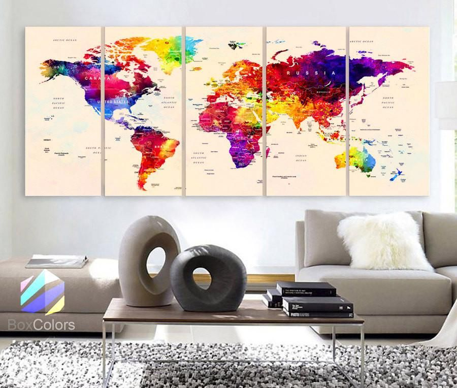 Large 30x 70 5 panels art canvas print watercolor map world push large 30x 70 5 panels art canvas print watercolor map world push pin gumiabroncs Choice Image