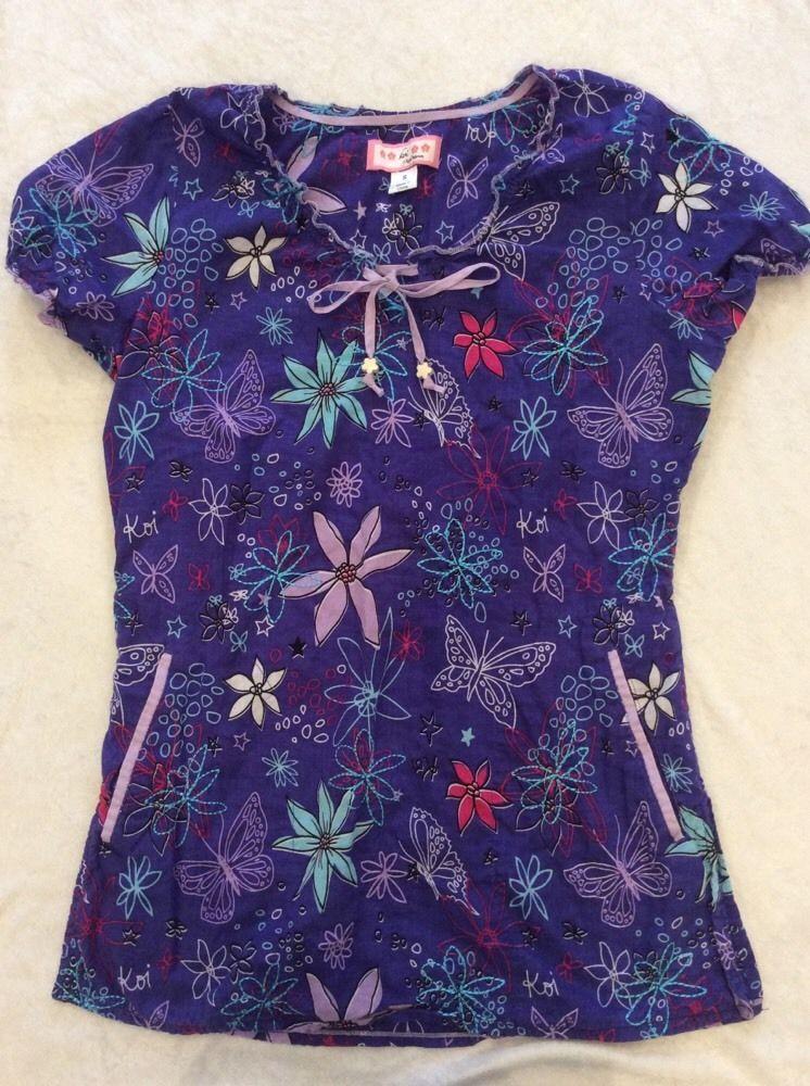 9dc6c8b416e Koi Scrub Top Small Womens Purple Butterfly Summer Lightweight Nursing #Koi