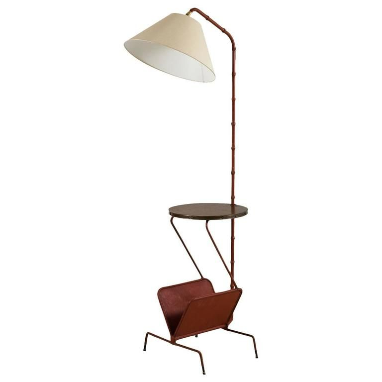 Jacques Adnet Floor Lamp With Table And Magazine Rack For Sale At 1stdibs Floor Lamp Lamp Floor Lamp Table