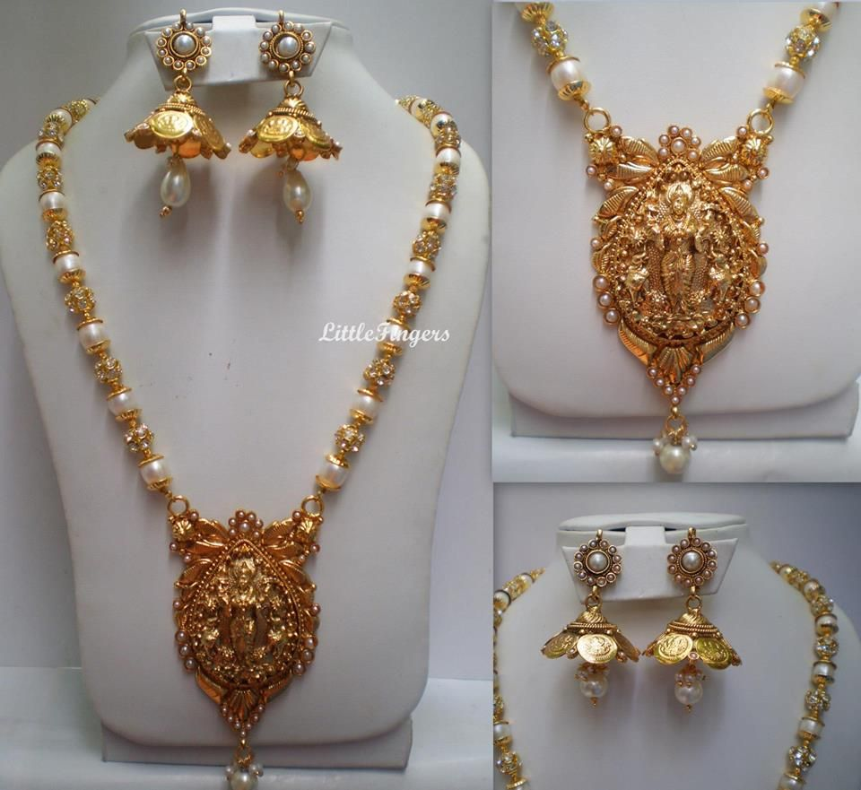 Beautiful South Indian Double Long Necklace Set: Ethnic Gold N White South Indian Jewellery With Figurine