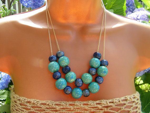 turquoise and navy blue ceramic beaded bib necklace. Summer Statement.