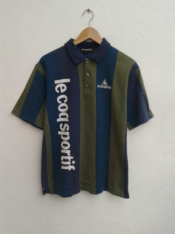 3815494d4 SUMMER SALE LE Coq Sportif Color Cross Stripes Bold Spell Out Vintage Rare  Casual Polo Shirt Size M - $17.85 USD