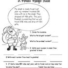 This printable math story worksheet focuses on base ten numbers and ordering numbers from greatest to least.A cute addition this holiday season! FREE