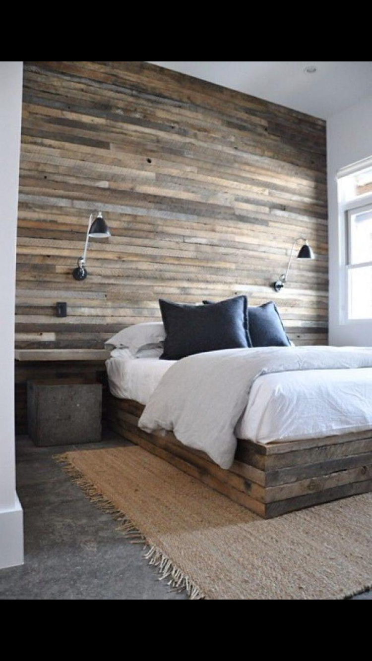 Love The Barn Wood Accent Wall Light Sconce And Floating Nightstands