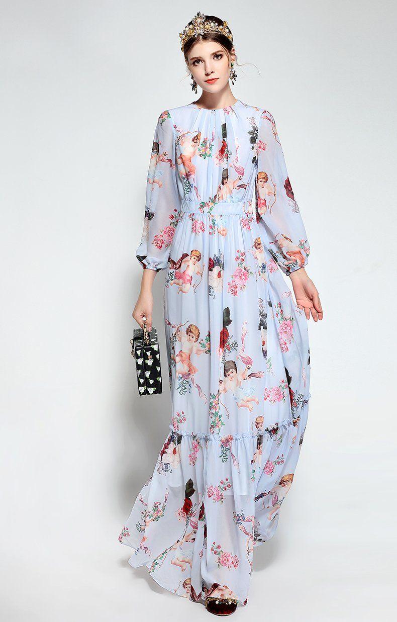 e677bdbf8e98 Casual Bohemian Holiday Chiffon Angel Pattern Floral Print Long Dress   maxidress  dress  fashion