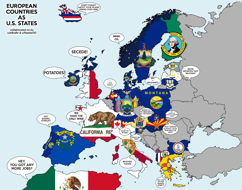 European Countries As States Maps Pinterest European Countries - Map of us over europe