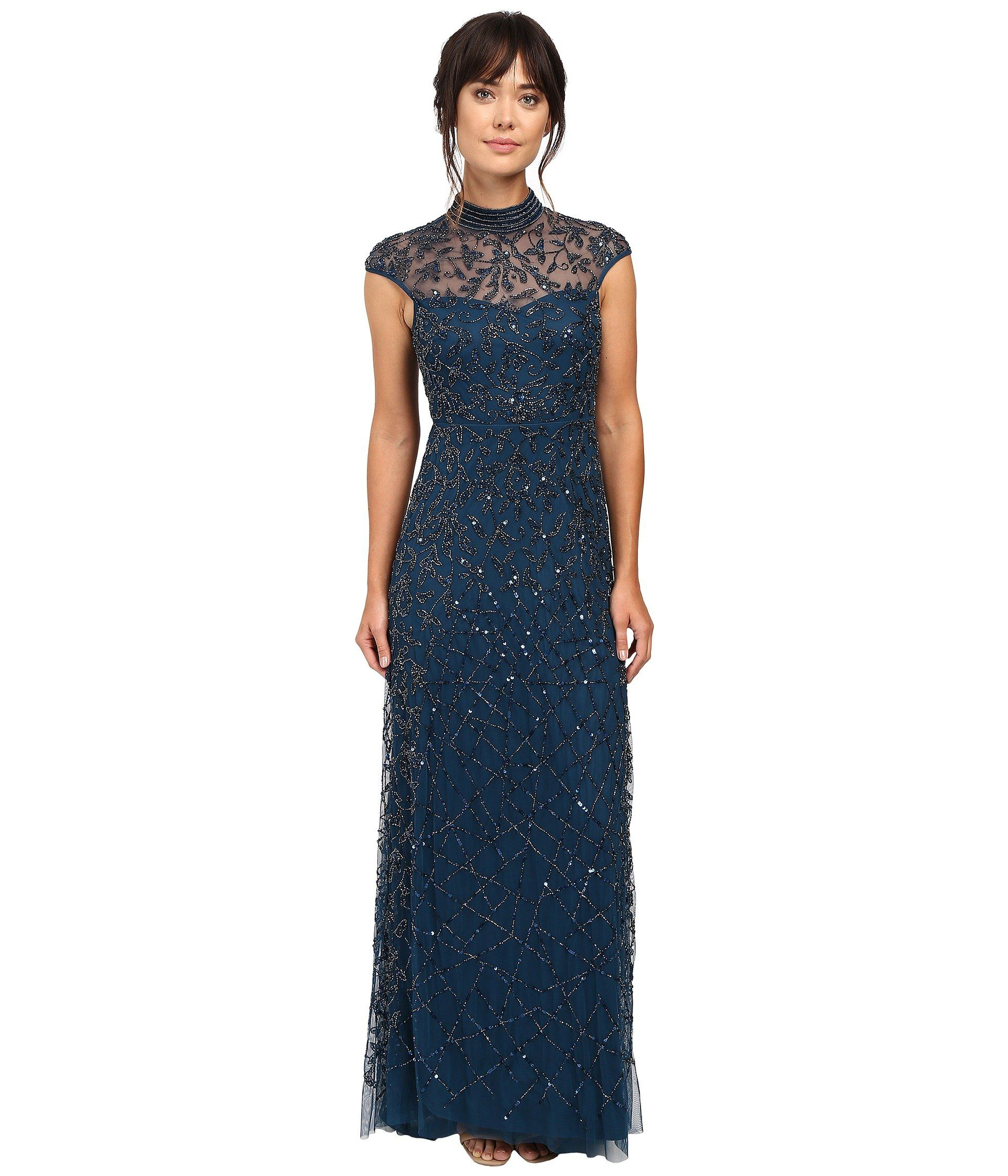 Cap Sleeve Beaded Turtleneck Gown, Teal Crush   Adrianna Papell ...