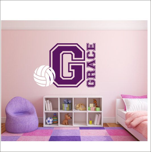 volleyball wall decal personalized wall decal varisty letter nursery bedroom wall decal vinyl wall decals sports athletic decal volleyball - Volleyball Bedroom Decor