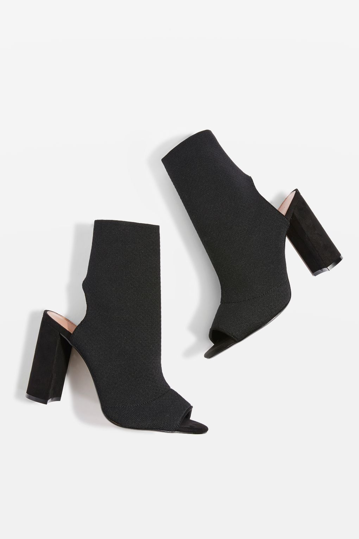 f21f172061972 SISTER Block Heel Sock Boots | Shoe Central | Socks, heels, Heels ...
