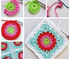 This crochet flower blanket is totally for beginners ...